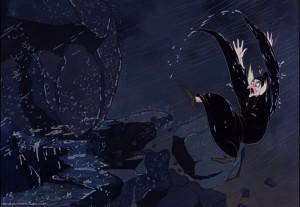 """Fotograma de la película de Disney """"Blancanieves y los siete enanitos"""", donde la bruja del cuento cae por un precipicio al intentar aplastar con una gran roca a los enanitos."""